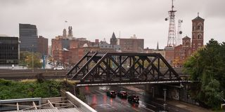 Industrial View Downtown City Skyline Rochester New York stock photos