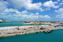 Industrial view in Freeport. Bahamas. A lot of ships and cranes ready for work stock image