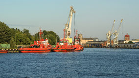 Industrial view of the Gdansk harbor , Poland. Stock Photography