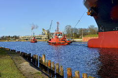 Industrial view of the Gdansk harbor , Poland. Royalty Free Stock Photos