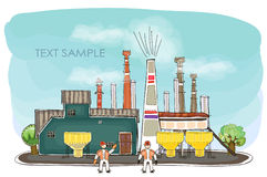 Industrial view illustration, Factory. Industrial view illustration with workers and manager Royalty Free Stock Image
