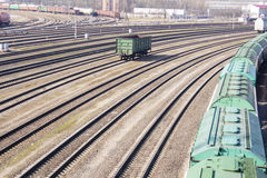 Industrial view with lot of freight railway trains waggons.  Stock Photo