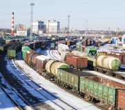 Industrial view with lot of freight railway trains waggons. Editorial image Royalty Free Stock Images