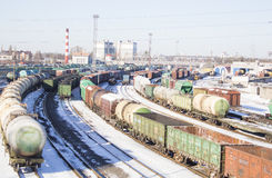 Industrial view with lot of freight railway trains waggons. Editorial image Royalty Free Stock Photos