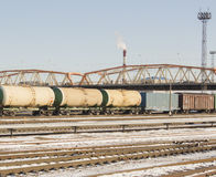 Industrial view with lot of freight railway trains waggons. Editorial image Stock Photography