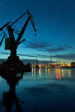 Industrial view at night. In shipyard of Gdansk, Poland Royalty Free Stock Image