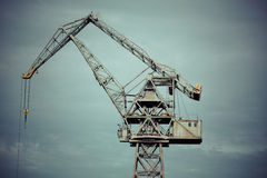 Industrial view in shipyard of Gdansk. Poland. Duho toned image Royalty Free Stock Photo