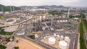 Industrial view time lapse at oil refinery plant. Form industry zone Royalty Free Stock Photos