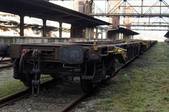 Industrial wagon in old abandoned industrial railway station in Prague Stock Photography