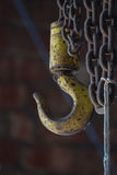 Industrial warehouse hook and chains Royalty Free Stock Image