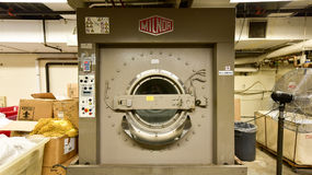 Industrial Washing Machine. New York City - June 14, 2017: Typical industrial washing machine as found in hotel buildings stock photography
