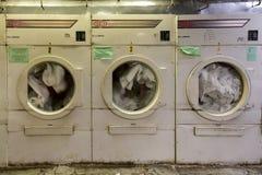 Industrial Washing Machine. New York City - June 14, 2017: Typical industrial washing machine as found in hotel buildings stock image
