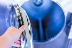 Laundromat. Industrial washing machines in a public laundromat royalty free stock photo
