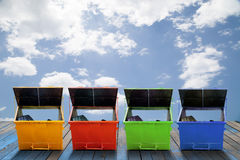 Industrial Waste Bin (dumpster) for municipal waste or industria. L waste, on wood and sky  background Stock Photography