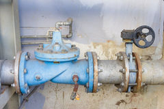 Industrial water pipes and valves Stock Images