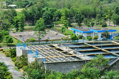 Industrial water treatment plant in forests Royalty Free Stock Images