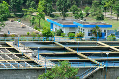 Industrial water treatment plant in forests Stock Photos
