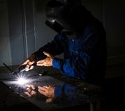 Industrial welder welding Royalty Free Stock Images