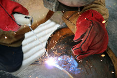 Industrial Welding. Close up shot of welding and sparks. Selective focus Royalty Free Stock Images