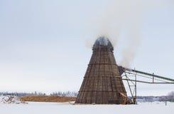 Industrial wood chip burner Stock Image