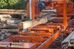 Industrial wood cutting machinery Royalty Free Stock Photos