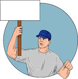 Industrial Worker Activist Placard Protesting Circle Drawing Royalty Free Stock Photography