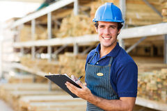 Industrial worker clipboard Royalty Free Stock Images