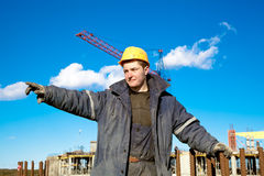 Industrial worker at a construction site Royalty Free Stock Images