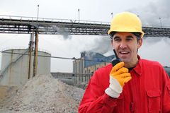 Industrial worker in a factory stock image