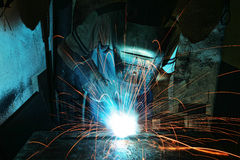 Industrial Worker at the factory welding Royalty Free Stock Photo