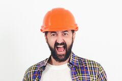 Free Industrial Worker. Hard Work. Portrait Of Screaming Bearded Builder. Worker In Protect Helmet. Professional Builder With Safety Stock Photo - 177023530
