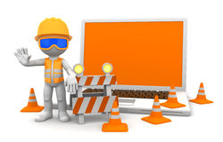 Industrial worker with laptop. Under construction concept. on white