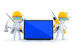 Industrial worker with laptop. Isolated. Clipping path Stock Images