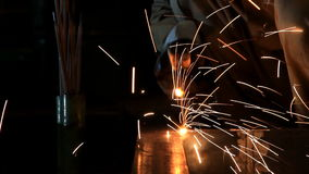 Industrial worker make a spark welding Royalty Free Stock Photo
