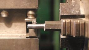 Industrial worker makes a stud. stock footage