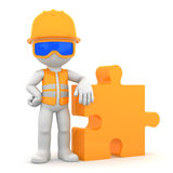 Industrial worker with piece of puzzle stock illustration