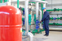 Industrial Worker in Power Plant stock photography