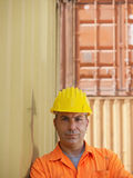 Industrial worker in warehouse stock photography
