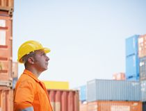 Industrial worker in warehouse royalty free stock photography
