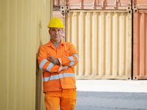 Industrial worker in warehouse royalty free stock images