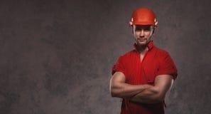Industrial worker wearing hemlet Stock Images