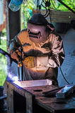 Industrial worker welding. Electric welding work Royalty Free Stock Photos