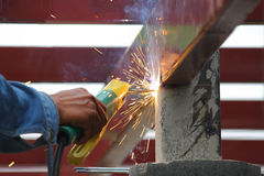Industrial worker welding steel Royalty Free Stock Images