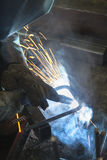 Industrial worker welding Stock Photo