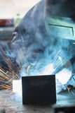 Industrial worker welding Stock Photography