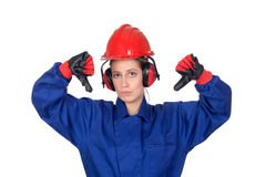Industrial worker woman with the thumbs down Stock Image