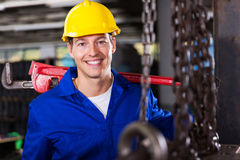 Industrial worker wrench Royalty Free Stock Images