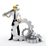Industrial worker with wrench and gears. Conceptua Royalty Free Stock Images