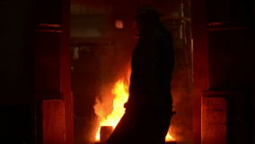 Industrial workers at the factory stock footage