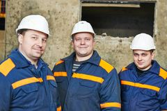 Industrial workers on house building plant Stock Image